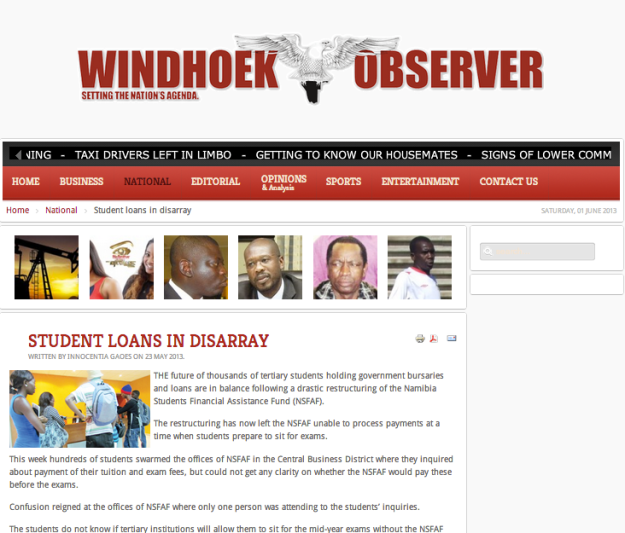 Windhoek Observer - Introduction of class visits