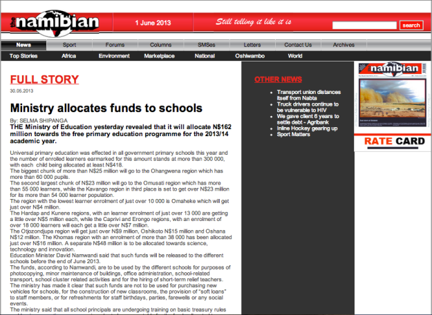 ministry allocates funds for schools